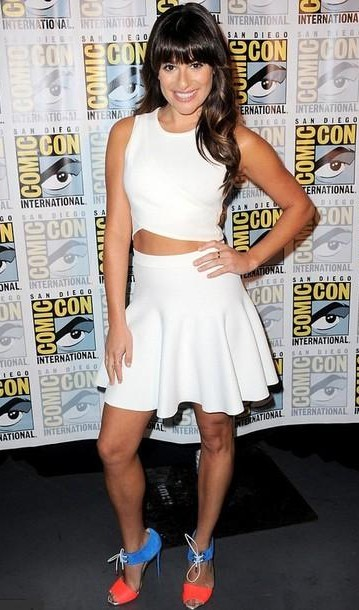 looking for this white crop top with skater skirt like Lea Michele is wearing - SeenIt