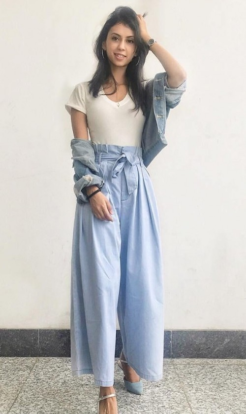 Help me find a similar flared trousers, white vneck top and denim jacket. - SeenIt