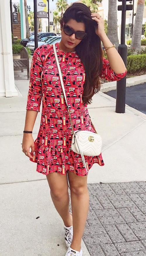 I want this red quirky printed frilled dress that Pallavi Ruhail is wearing. - SeenIt