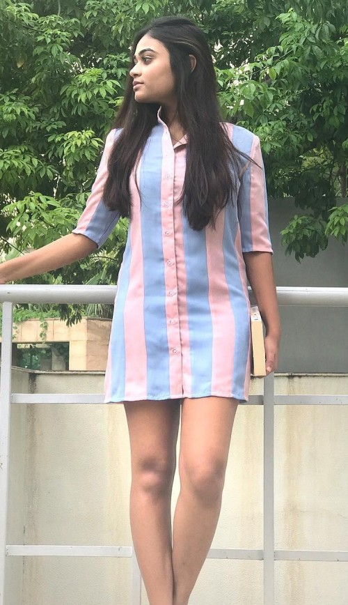 Looking for this pastel pink and blue striped shirt dress. - SeenIt
