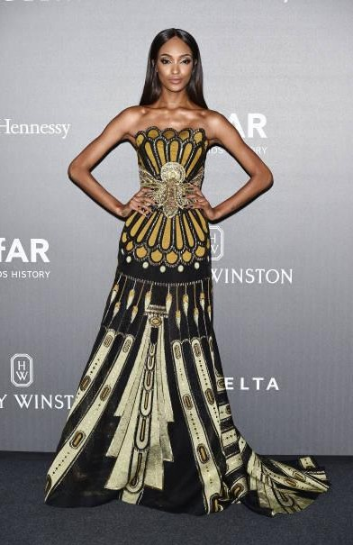 Yay or Nay? Jourdan Dunn wearing a strapless gown attends the amfAR Gala Milano during the Milan fashion week - SeenIt