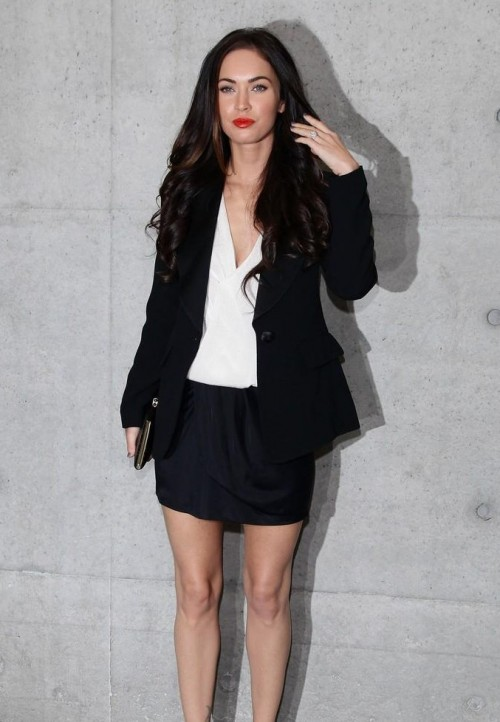 looking for this white shirt with black skirt and blazer that Megan Fox is wearing - SeenIt