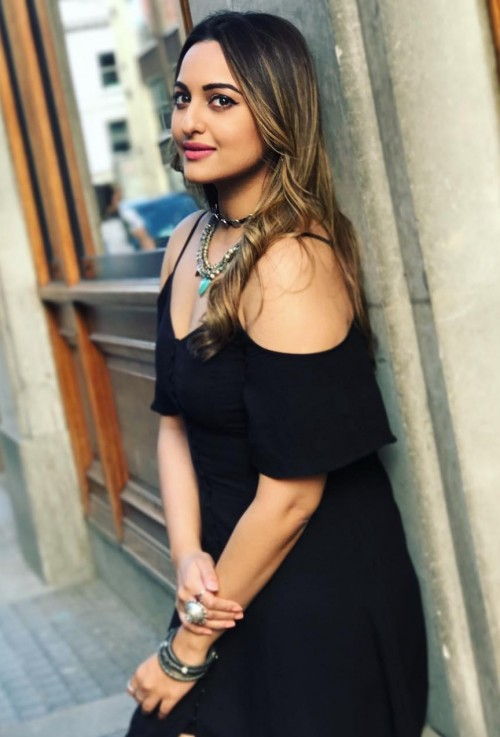 Looking for similar black cold shoulder ruffles dress that Sonakshi Sinha is wearing - SeenIt