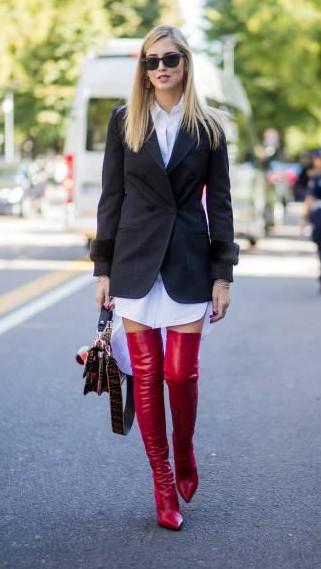 Yay or Nay? Chiara Ferragni wearing white button dress, blazer, red overknees, Fendi bag is seen outside Fendi during Milan Fashion Week - SeenIt