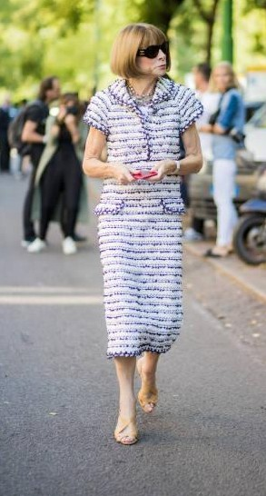Yay or Nay? Anna Wintour wearing a tweed dress spotted outside Fendi during Milan Fashion Week - SeenIt