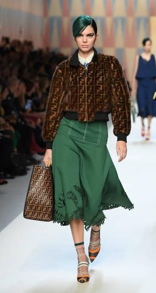 Yay or Nay? Kendall Jenner wearing a green midi skirt and jacket walks the runway at the Fendi show during Milan Fashion Week - SeenIt