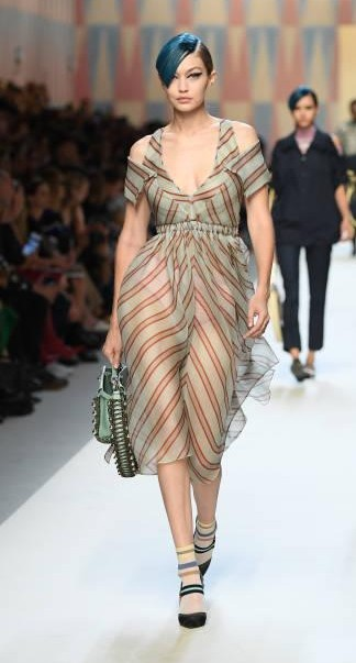 Yay or Nay? Gigi Hadid wearing a sheer striped dress walks the runway at the Fendi show during Milan Fashion Week - SeenIt
