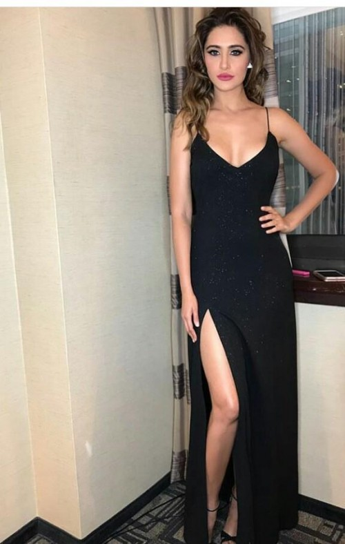 i m looking for a similar chiffon black dress with a slit which Nargi Fakhri is wearing - SeenIt