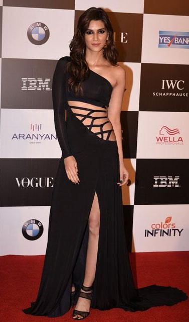 Yay or Nay? Kriti Sanon wearing a black cut out waist slit gown at the Vogue Women of the Year awards last night - SeenIt