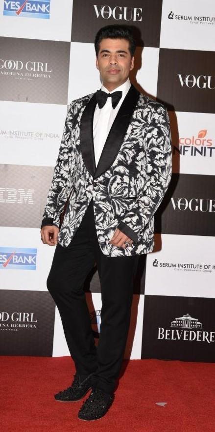 Yay or Nay? Karan Johar wearing a printed tuxedo jacket at the Vogue Women of the Year awards last night - SeenIt