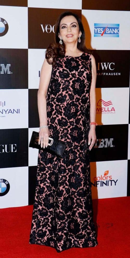 Yay or Nay? Nita Ambani wearing a black gown at the Vogue Women of the year awards last night - SeenIt