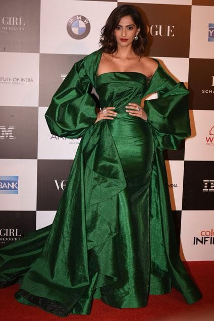 Yay or Nay? Sonam Kapoor wearing an emerald green silk gown by Fouad Sarkis couture at the Vogue Woman of the Year awards last night - SeenIt