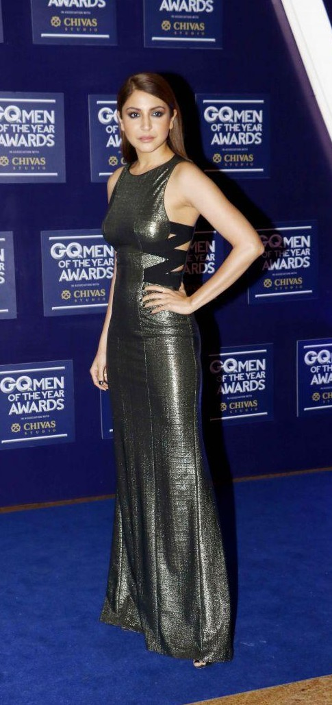 Yay or Nay? Anushka Sharma wearing a silver metallic gown at the GQ Men of the year awards 2017 - SeenIt
