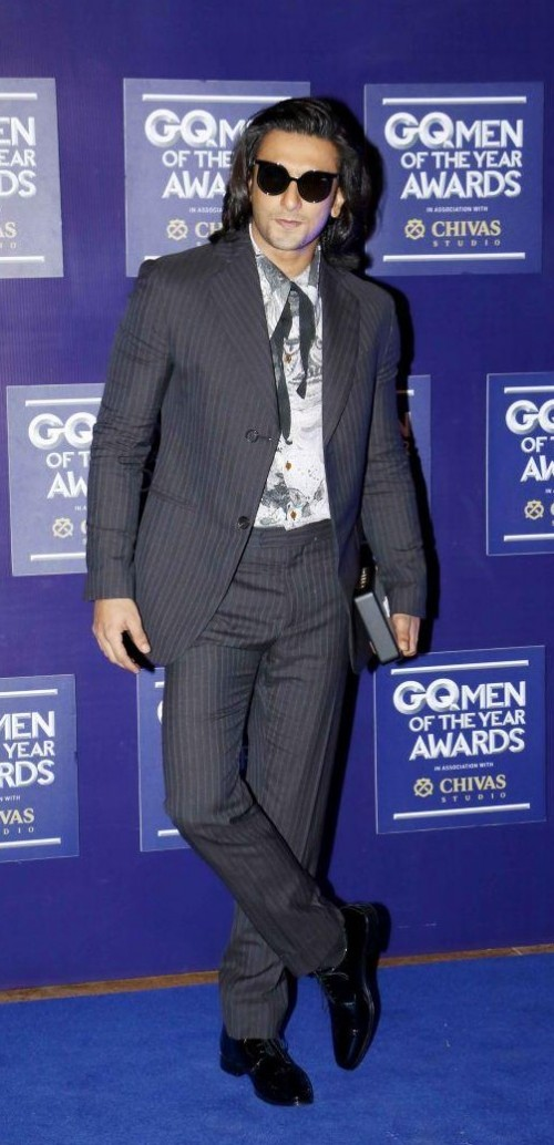 Yay or Nay? Ranveer Singh attends the GQ Men of the year awards 2017 wearing a striped grey suit - SeenIt