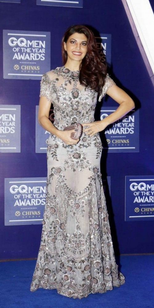 Yay or Nay? Jacqueline Fernandez wearing a silver grey embellished gown at the GQ Men of the year awards 2017 - SeenIt