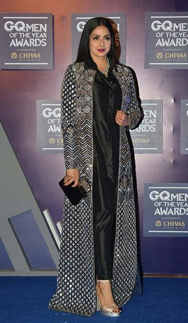 Yay or Nay? Sridevi attends the GQ Men of the year awards 2017 wearing an embellished cape - SeenIt