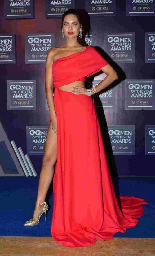 Image result for esha gupta red gown off shoulder dress