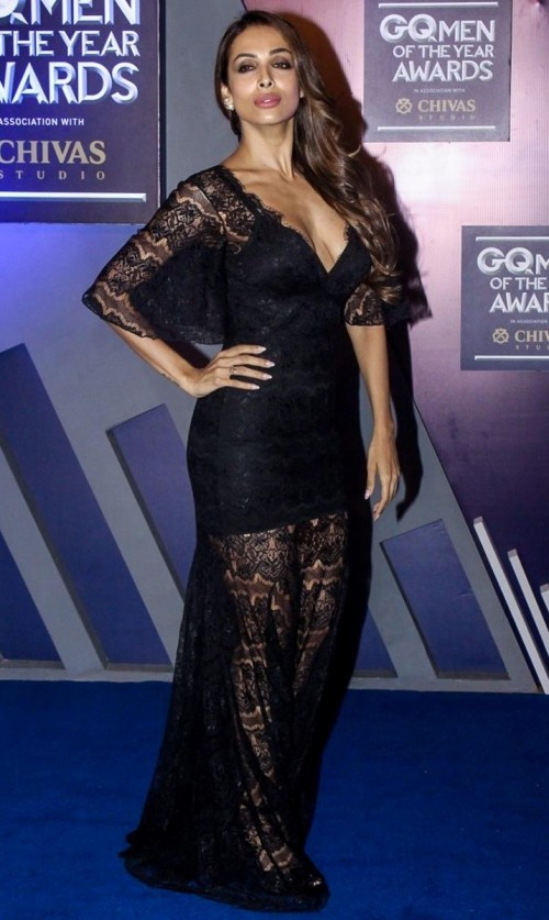 Yay or Nay? Malaika Arora attends the GQ Men of the year awards 2017 wearing a black sheer lace gown - SeenIt
