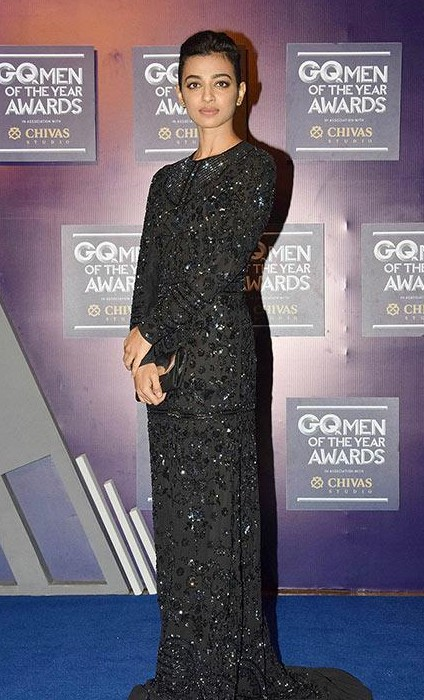 Yay or Nay? Radhika Apte wearing a black embellished gown at the GQ Men of the year awards 2017 - SeenIt