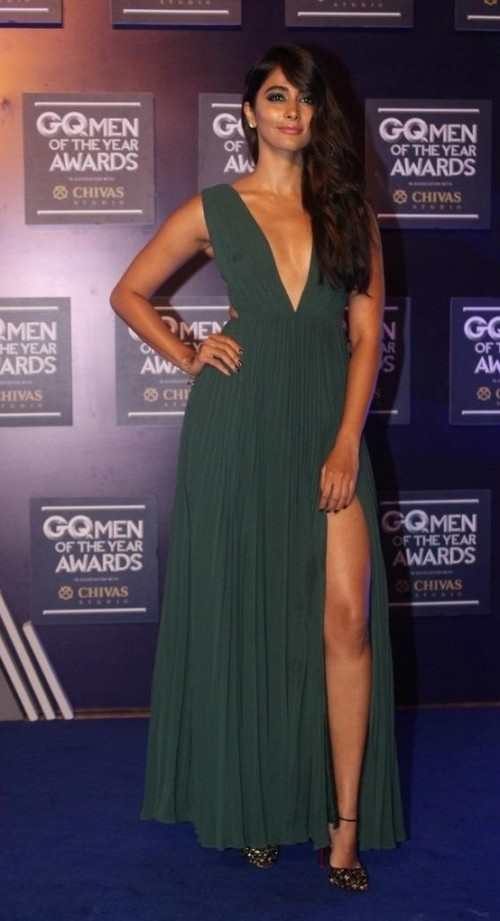 Yay or Nay? Pooja Hegde wearing a green plunge neck slitted gown at the GQ Men of the year awards 2017 - SeenIt