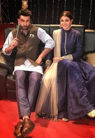 Looking for the blue kurta with brown nehru jacket and blue trousers like Ranbir Kapoor is wearing - SeenIt