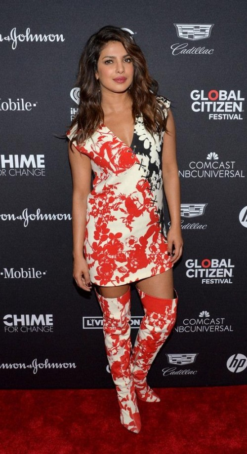 Yay or Nay? Priyanka Chopra wearing a printed short dress and thigh high pointed boots at the Global Citizen Festival 2017 - SeenIt