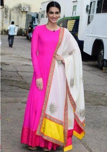 Want the pink plain anarkali which Kriti Sanon is wearing for Bairely ki Barfi promotions - SeenIt