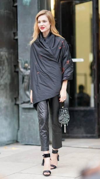 Yay or Nay? Natalia Vodianova, wearing a black kimono jacket as seen outside Shiatzy Chen, during Paris Fashion Week - SeenIt