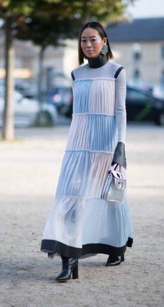 Yay or Nay?  Aimee Song wearing a maxi dress as seen in the streets of Paris during the Paris Fashion Week - SeenIt
