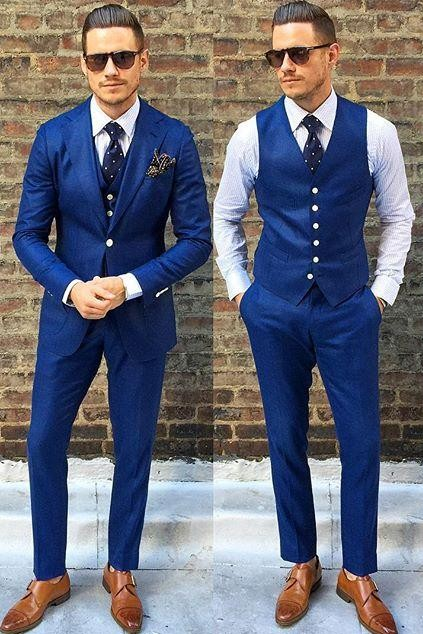 Navy Blue Suit With Brown Shoes And Belt
