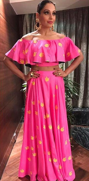 Help me find a similar pink printed crop top and lehenga set as Bipasha Basu is seen wearing at the Minerali store in Delhi - SeenIt