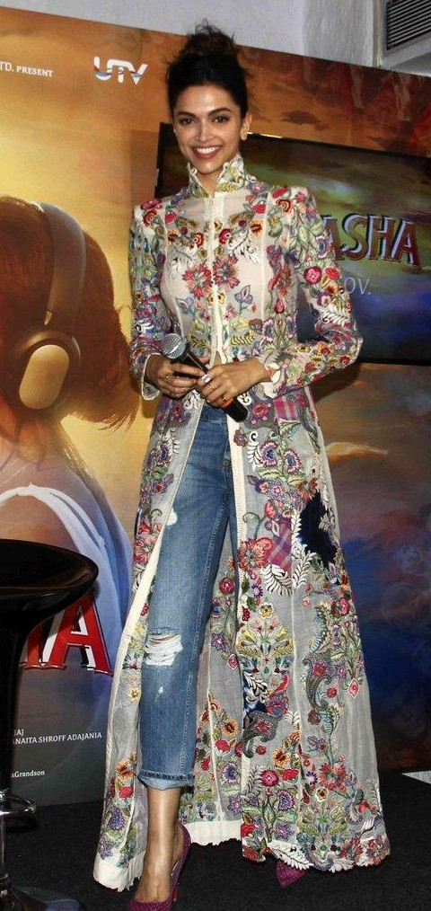I'm looking for a floral high-collared embroidered maxi tunic, the same wore by Deepika Padukone on Tamasha promotional event. - SeenIt