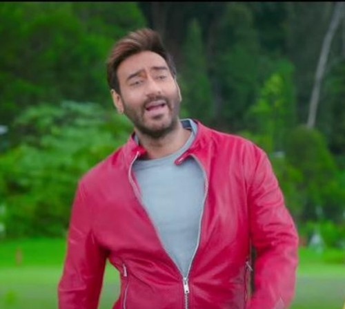 can you help me find a similar red leather jacket like ajay devgn is wearing in his movie golmaal again - SeenIt