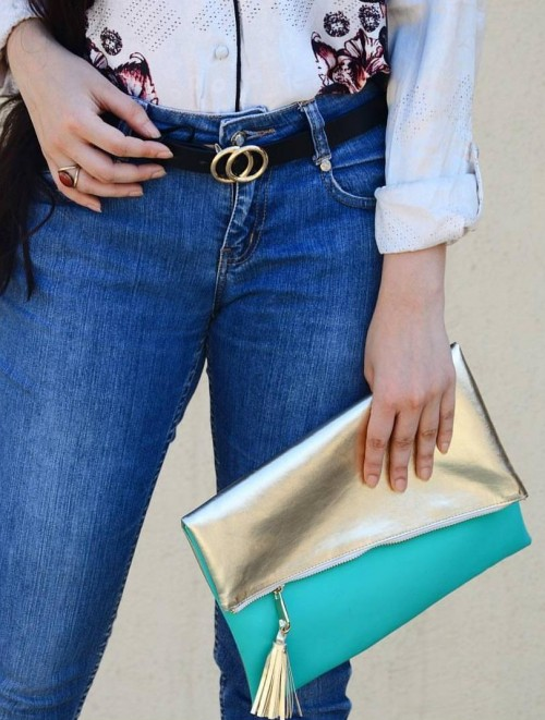 Need this exact gold teal clutch bag - SeenIt