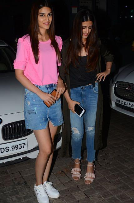 Looking for a similar pink top and denim skirt like Kriti Sanon is wearing at the screening of Judwaa2 movie - SeenIt