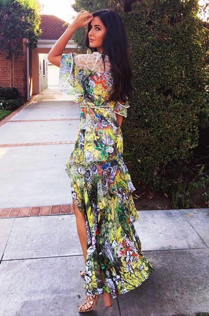 Yay or Nay? Katrina Kaif spotted wearing a flora print slitted Peter Pilotto maxi dress recently - SeenIt