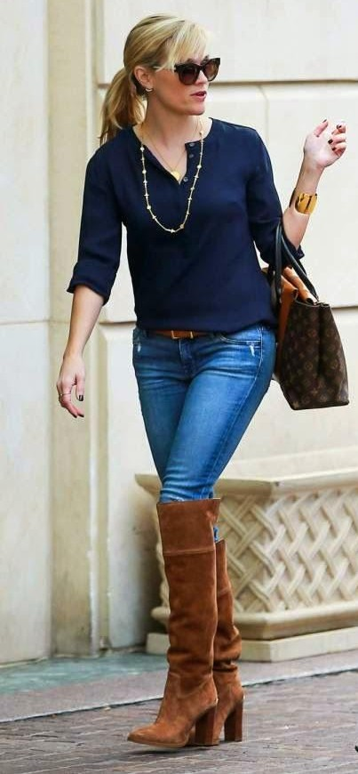 Looking for this brown knee length boots that Reese Whitherspoon is wearing - SeenIt