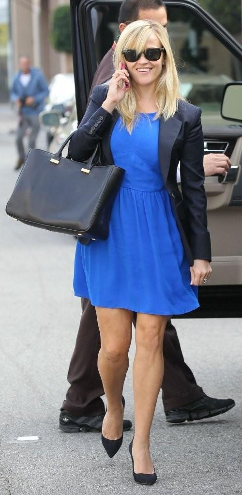 Looking for this blue dress with black blazer and tote bag that Reese Witherspoon is wearing - SeenIt