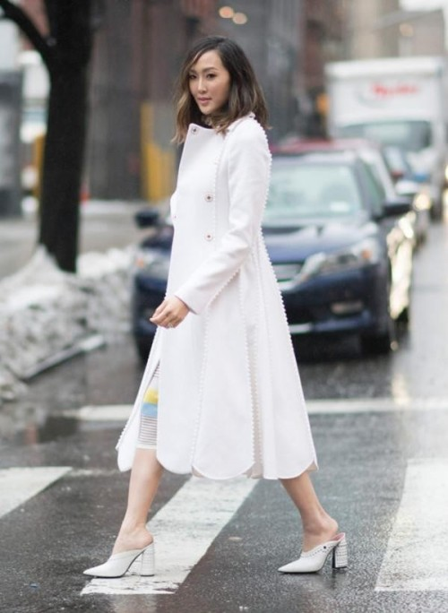 Want a similar white coat and white block heel shoes - SeenIt