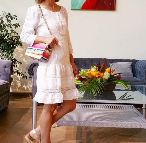 looking for similar white dress outfit and sling bag - SeenIt