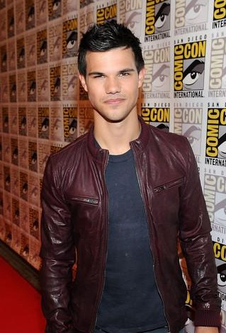 help me find out this brown leather jacket and black round tee which Taylor lautner is wearing! - SeenIt