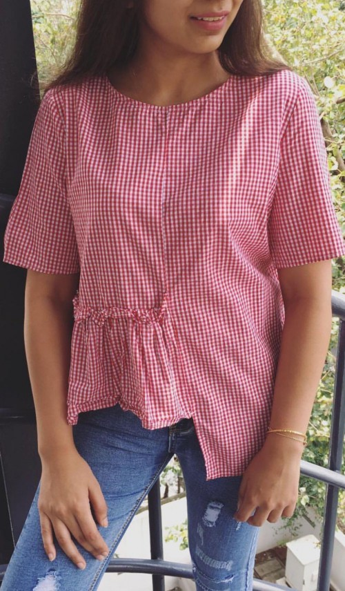 Want this red gingham printed aprere top - SeenIt