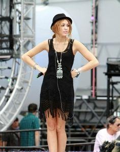 Want this black fringe dress and the hat that Miley Cyrus is wearing - SeenIt