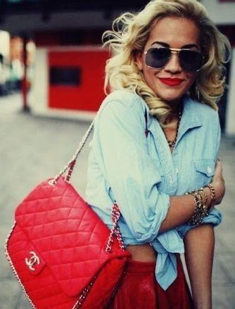 Need this red quilted sling bag that Rita Ora is carrying - SeenIt