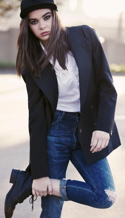 Looking for this white shirt, black blazer, blue ripped jeans and black ankle-boots that Hailee Steinfeld is wearing - SeenIt