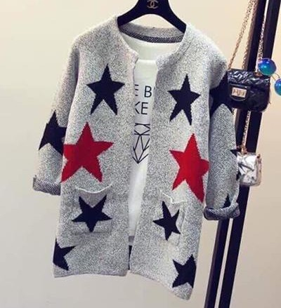 looking for similar grey star printed front open sweater - SeenIt
