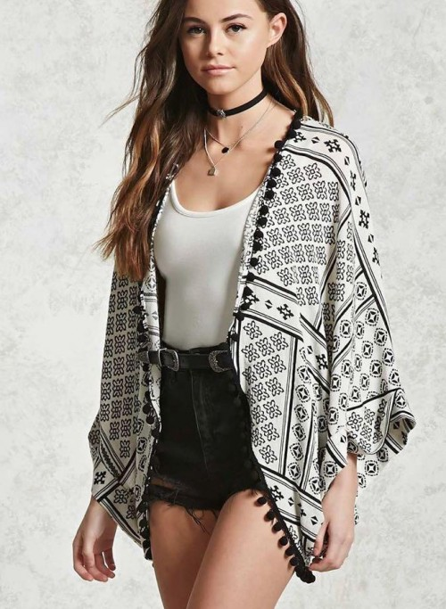 Looking for a similar printed pom pom kimono like the one in the picture - SeenIt