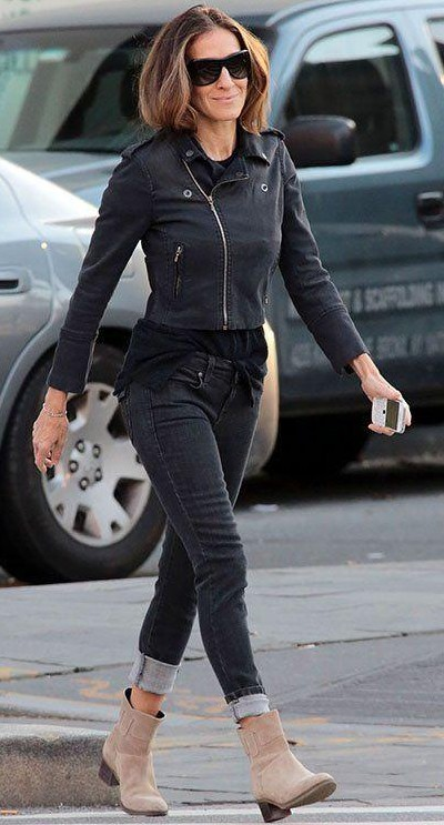 help me find a similar black biker jacket and boots which Jessica Parker is wearing - SeenIt