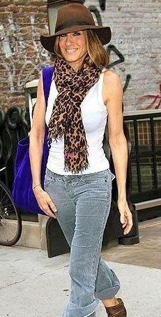 help me find a similar top, hat and animal print scarf which jessica parker is wearing! - SeenIt