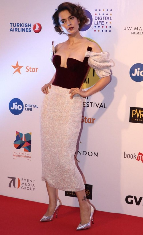 Yay or Nay? Kangana Ranaut wearing an off shoulder corset style midi bodycon dress at the opening ceremony of Mumbai film festival 2017 - SeenIt